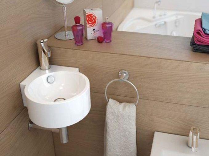 Lavabo esquinero para baño pequeno