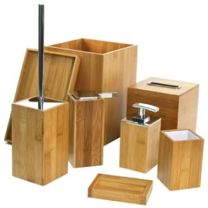 Wood Bathroom Accessories   TheBathOutlet com Bathroom Accessory Set Wooden 8 Piece Bamboo Bathroom Accessory Set Gedy  PO8001 35