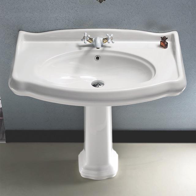 classic style white ceramic pedestal sink