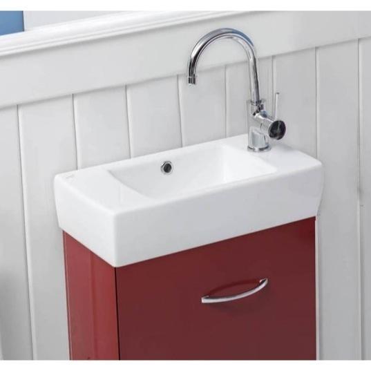 small rectangular ceramic wall mounted or drop in bathroom sink