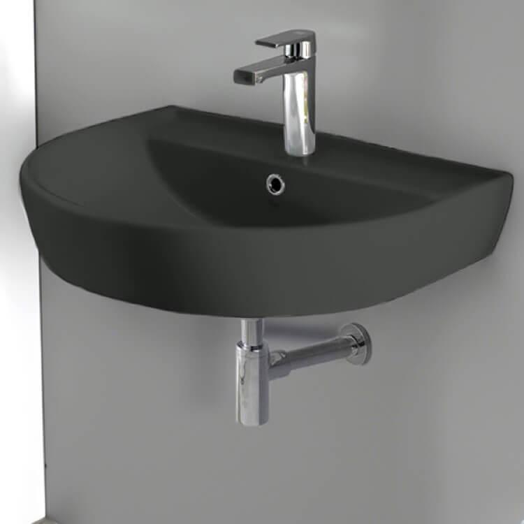 round matte black ceramic wall mounted sink