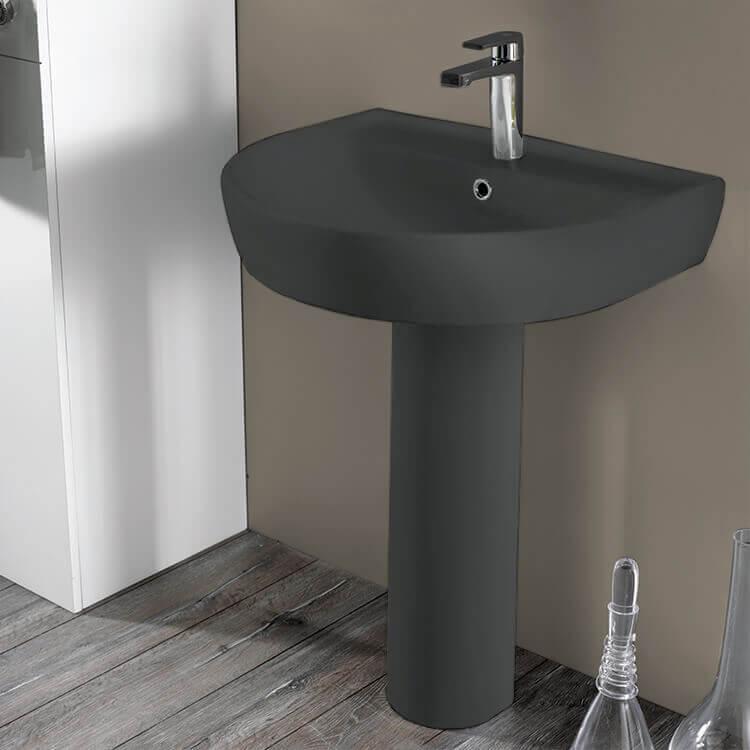 round matte black ceramic pedestal sink