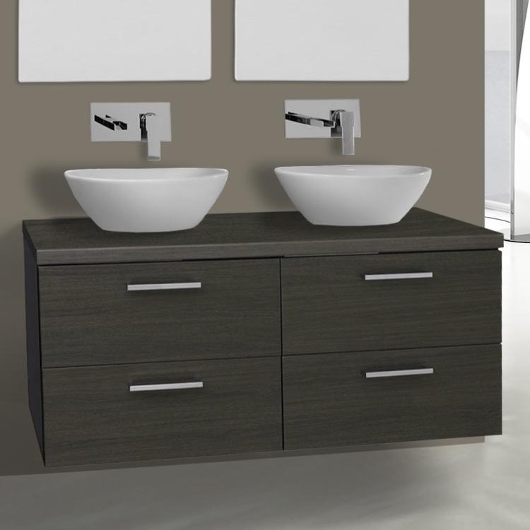 45 inch grey oak double vessel sink bathroom vanity wall mounted