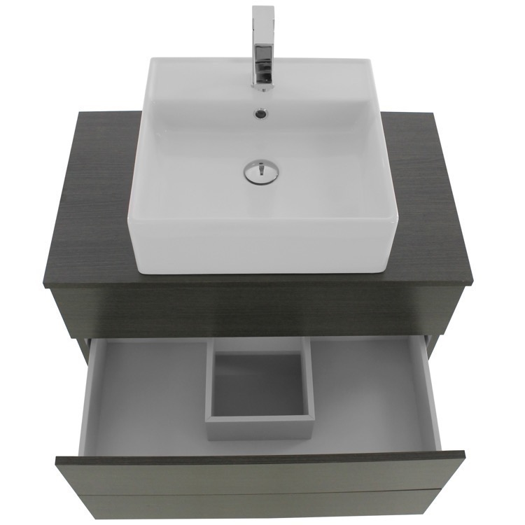 32 inch grey oak vessel sink bathroom vanity wall mounted