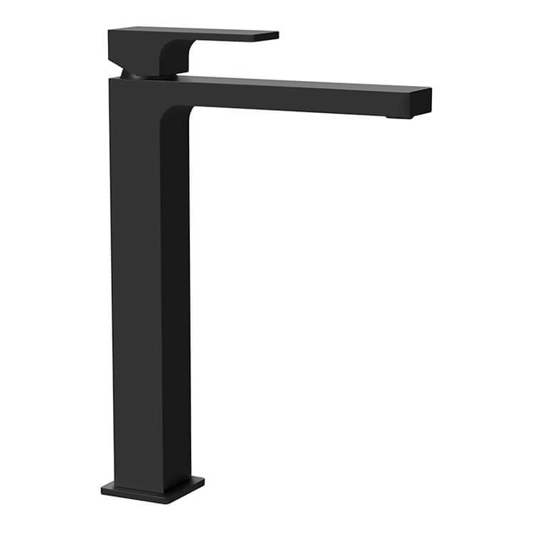 modern vessel sink faucet in matte black