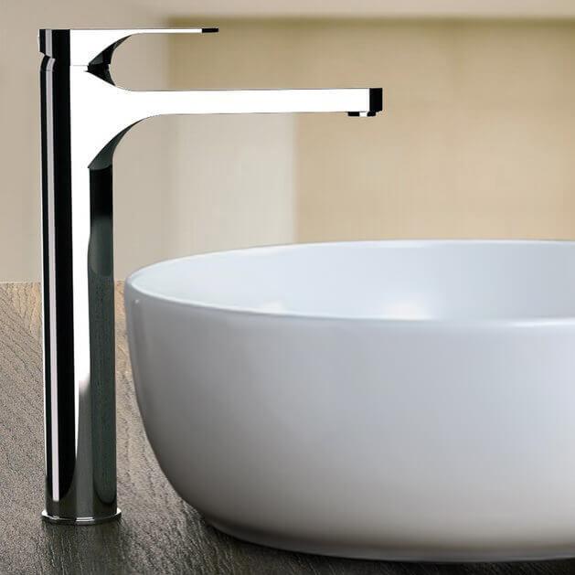 chrome round vessel sink faucet