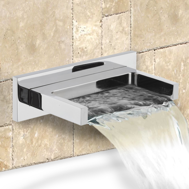 square chrome wall mounted waterfall