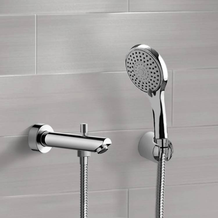 chrome wall mounted tub spout kit with hand shower