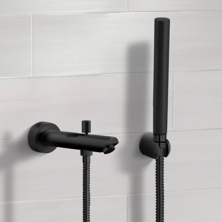 matte black wall mounted tub spout kit with hand shower