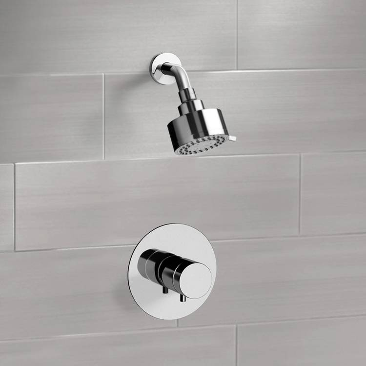 chrome thermostatic shower faucet set with multi function shower head