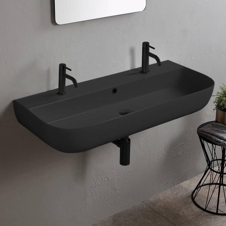 matte black ceramic trough wall mounted or vessel sink