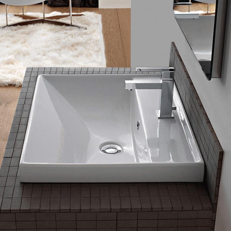 rectangular white ceramic wall mounted or drop in bathroom sink