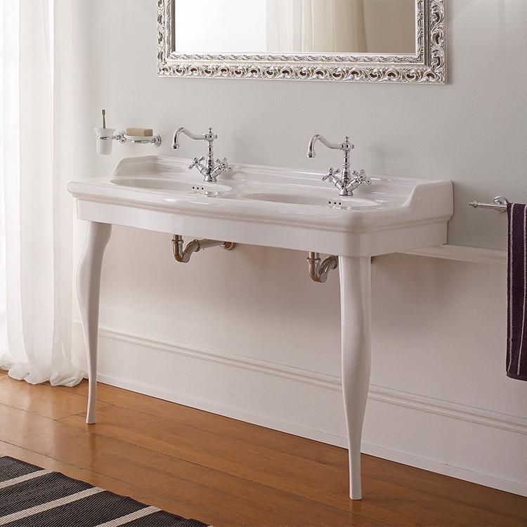 double basin ceramic console sink and ceramic legs