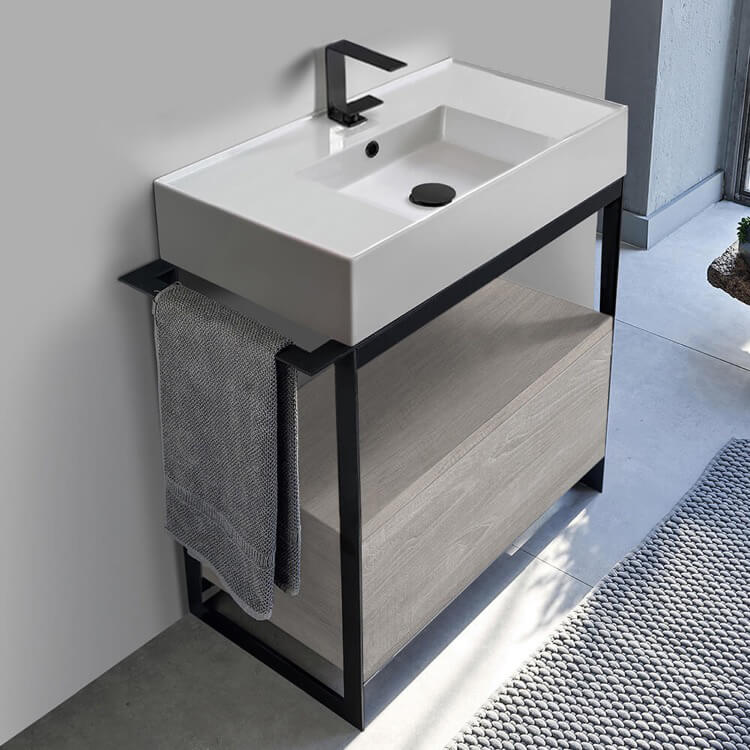 console sink vanity with ceramic sink and grey oak drawer