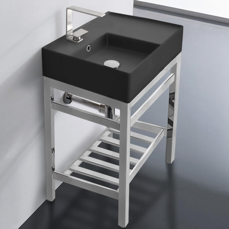 modern matte black ceramic console sink and polished chrome base