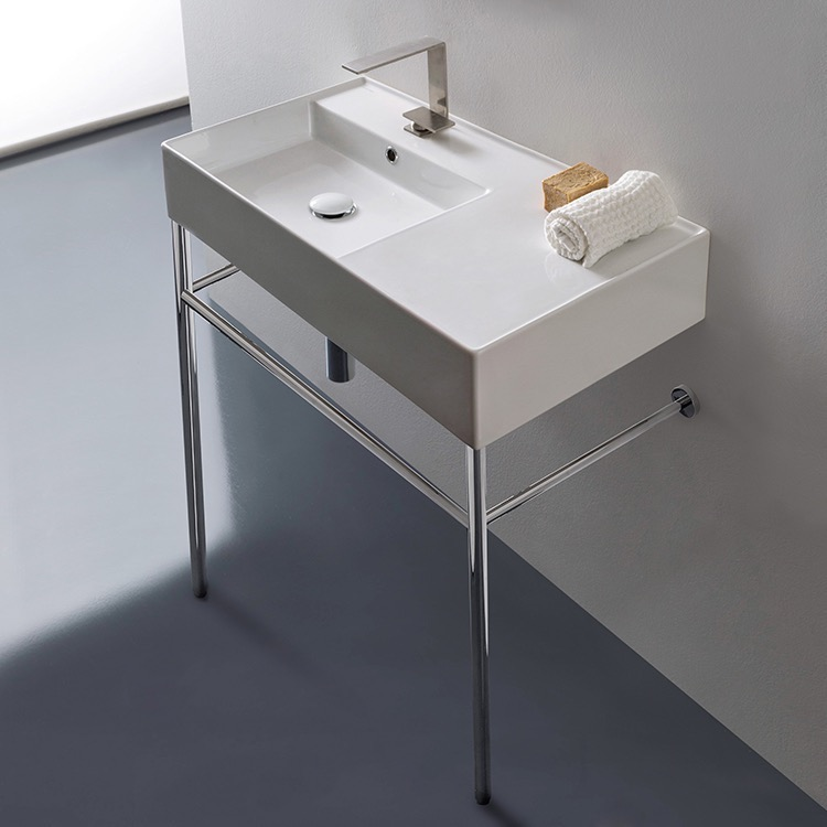 scarabeo 5115 con by nameek s teorema 2 rectangular ceramic console sink and polished chrome stand thebathoutlet