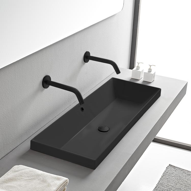 rectangular matte black ceramic trough drop in sink