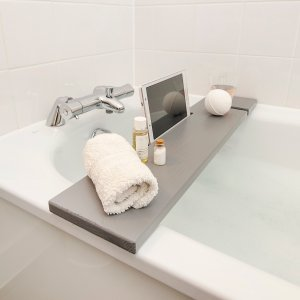 Bath Tray Rack Grey Wooden Caddy Board with Tablet Phone Holder