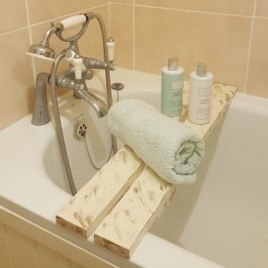 Wooden Over The Bathtub Distressed Rack Bridge Bath Caddy Tray White