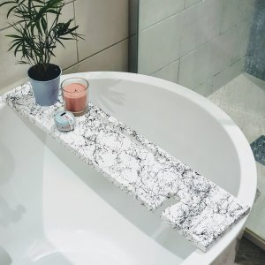 White Wooden Marble Effect Bath Rack Wine Holder Tablet/Phone Holder
