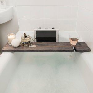 Rustic Hazel Grey Bath Rack 80cm x 17cm