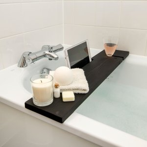 Black Bath Rack Wooden Tray