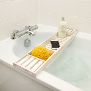 Wooden Antique Gold Distressed White BathTub Rack Bridge