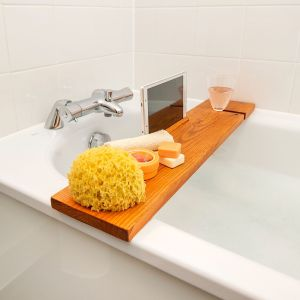 BathTub Rack Light Oak Bridge Wooden Caddy With Wine/Ipad holder