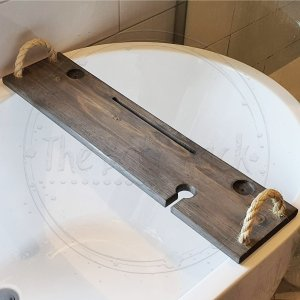 Bath Tray Rack Rustic Wide Hazel tea Light Holders and Rope Handles