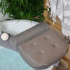Grey Bath Pillow Head, Neck, Back and Shoulder Support Bath Pillow for Bathtub, Hot Tub, Jacuzzi  Pillow Relaxing Cushion
