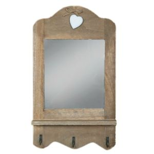 Wooden Rustic Mirror With Hooks