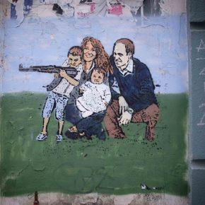 God save the Kalashnikov. Expat protest mural, Berlin.
