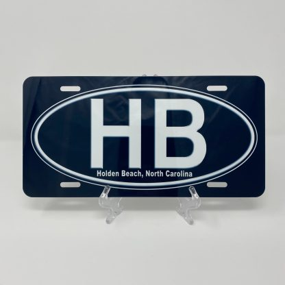 Holden Beach License Plate - HB on Black