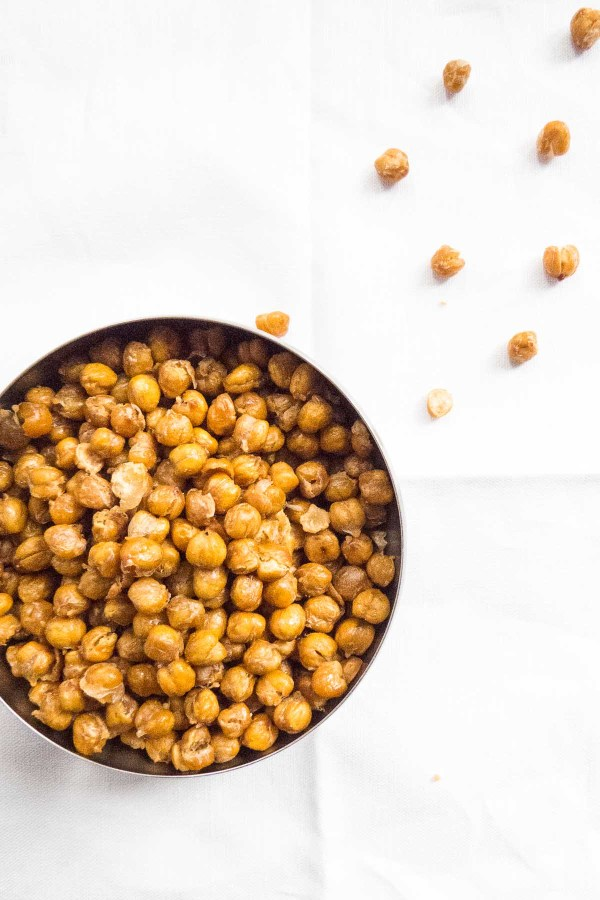 """Crunchy Salted Roasted Chickpeas will be the healthy answer to your salt cravings! Great as a snack or as """"crouton"""" topper to a salad or soup, their salty crunch is a delight!"""
