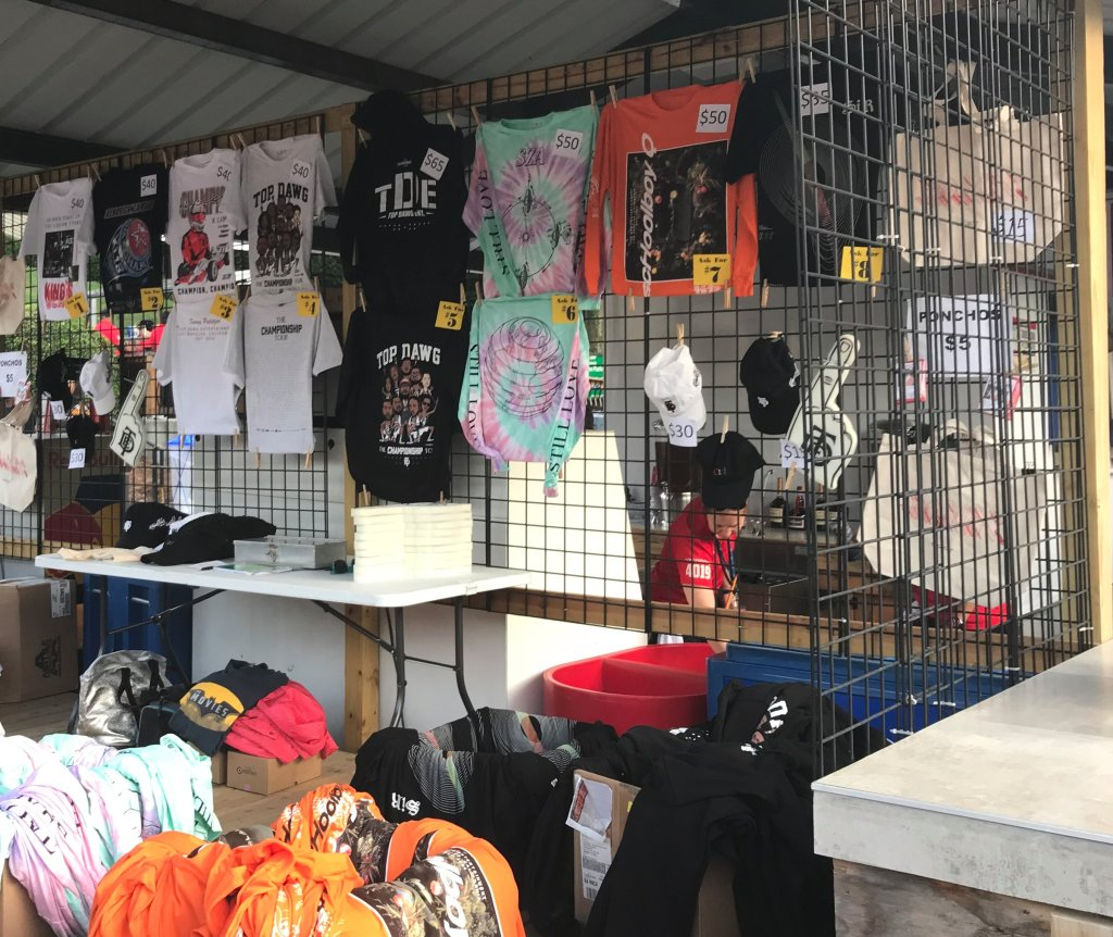 Merchandise stand at a concert.