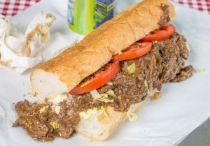 Sloppy roast beef po boy! Get your napkins ready because this bad boy is messy!