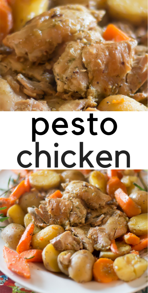 "Tender chicken thighs coated with pesto, seasoned carrots and potatoes all come together to make a ""roast-like"" experience. Easy weeknight meal that will quickly become a family favorite."