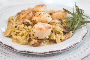 Pan seared scallops with mushrooms and leeks is impressive enough to serve to guests, but easy enough to make on any night of the week.