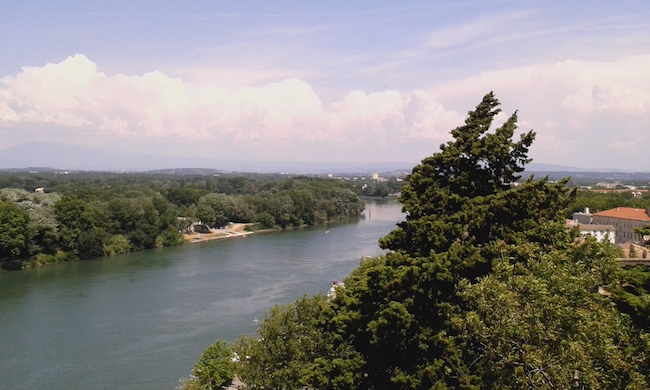View of the Rhone river from Avignon's main public park