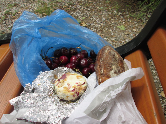My lunch from the Aix-en-Provence market, eaten on a park bench within view of Cezanne's beautiful childhood home.