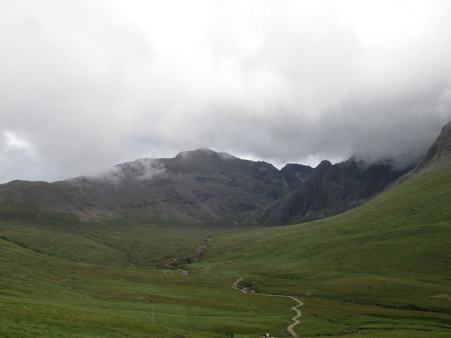 Cuillin Mountains, partially covered in mist