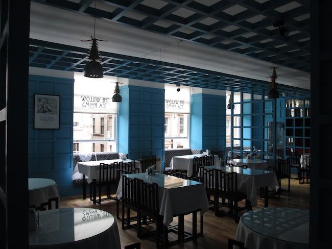 The second floor dining area in The Willow Tea Rooms on Buchanan Street.