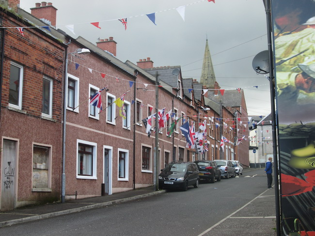 Notice all the patriotic U.K. flags waving in the wind