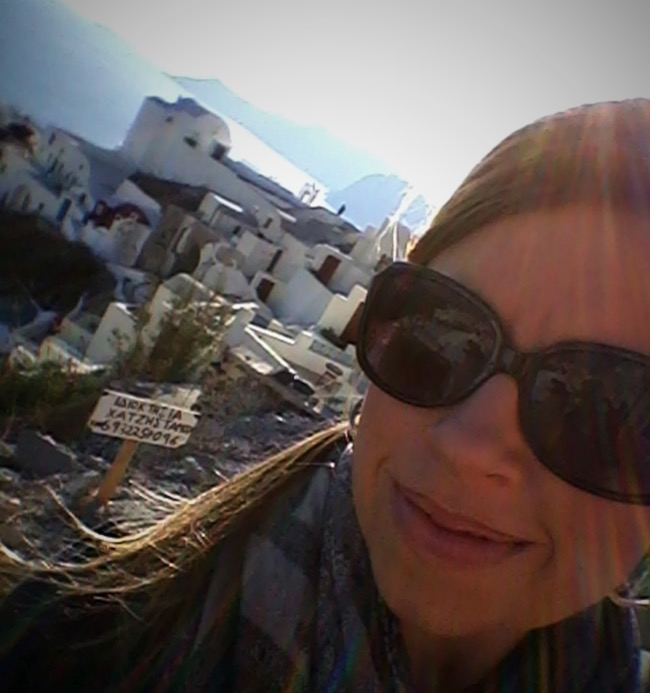 Enjoying the late-afternoon sun in Oia
