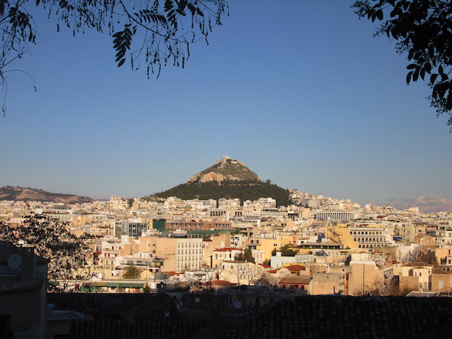 Lycabettus Hill from below the Acropolis