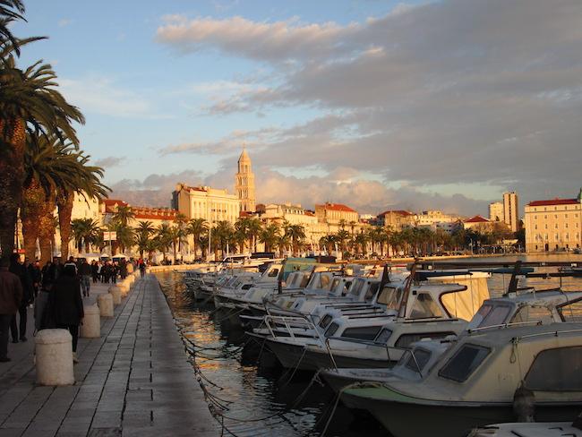 Evening at the harbor in Split, Croatia