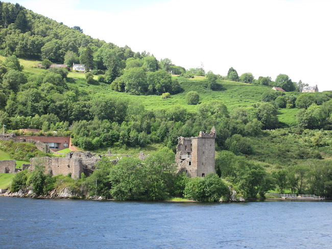A view of Urquhart Castle from the water