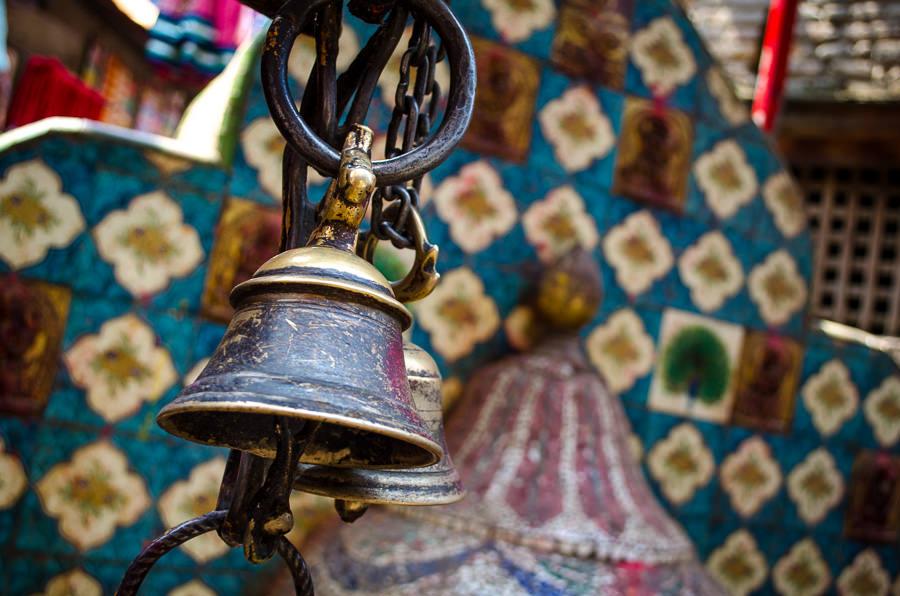 Bells at a place of worship in Kathmandu, Nepal.