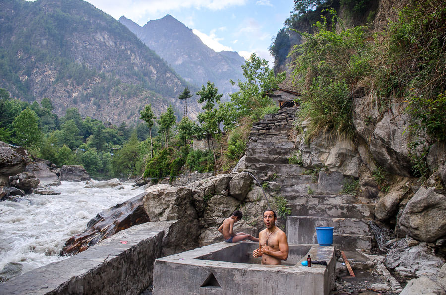 Adrian bathing in the community hot springs in Chame, Nepal.