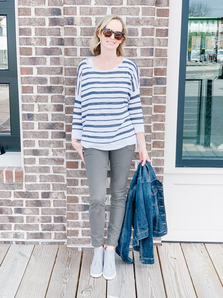 MY FAVORITE CASUAL SPRING OUTFIT | I am sharing my current casual spring outfit, including this lightweight sweater, perfect for layering, and my alternative to wearing jeans. #outfitideas #springoutfit #springsweater #over40fashion #over40 #over40style #realoutfit #momstyle